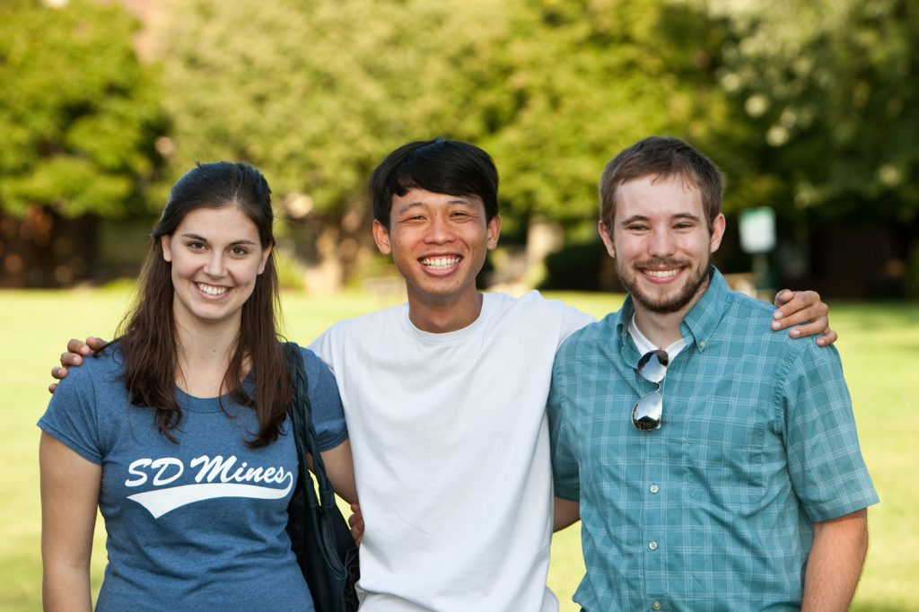 Three different students representing international studens on campus